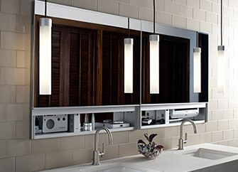 Robern Bathroom Sconces uplift medicine cabinets and pendant lights grouped for personal