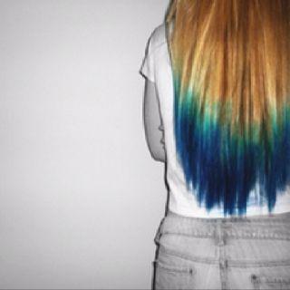 Dip dye: Directions Turquoise, Atlantic Blue. Easy peasy! www.hairbomb.com