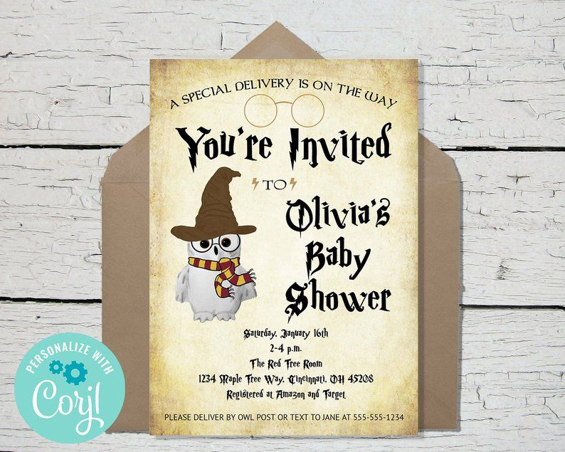 Baby Shower Editable Template Invitation Instant Download Etsy In 2021 Harry Potter Baby Shower Invitations Owl Baby Shower Invitations Harry Potter Baby Shower