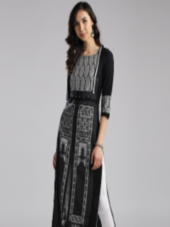 a2ea3fbed51 Buy W Women Black   White Woven Design Straight Kurta - Kurtas for Women  2402559