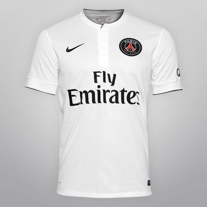 Camisa Nike Paris Saint-Germain Away 14 15 s nº - Branco+Azul ... 30a6419ac83e4