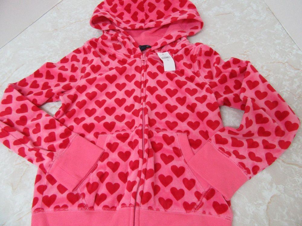 exquisite style fashion entire collection Gap Kids Pink Red Heart Velour Hoodie Sweatshirt Zip Front Sz 10 ...