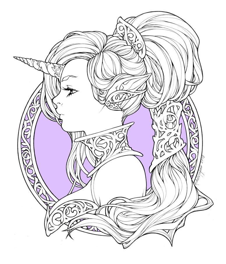 Iridae Nouveau by Michelle Hoefener #Unicorn #FantasyArt #Portrait ...