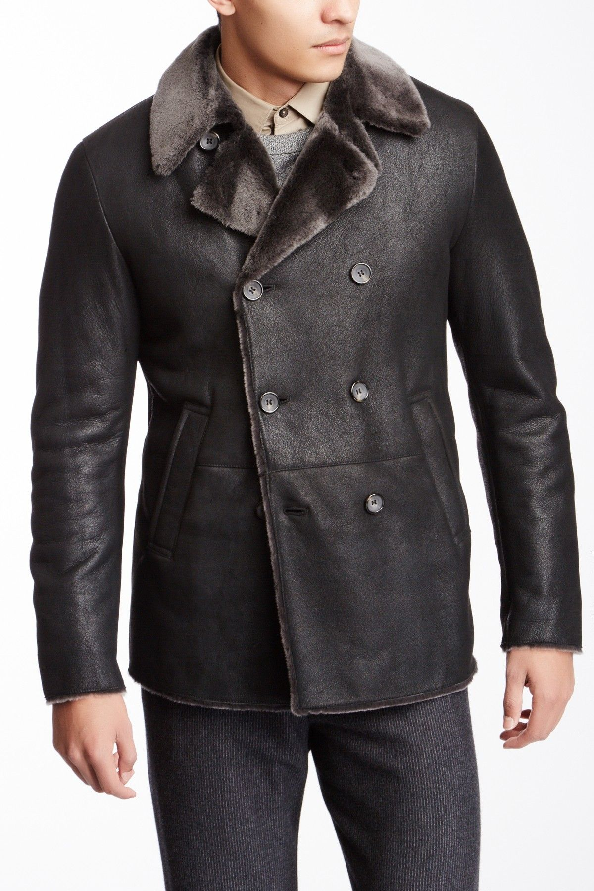 f128fde3 Giorgio Armani Uomo Leather Jacket with Fur Collar JacketMen ...