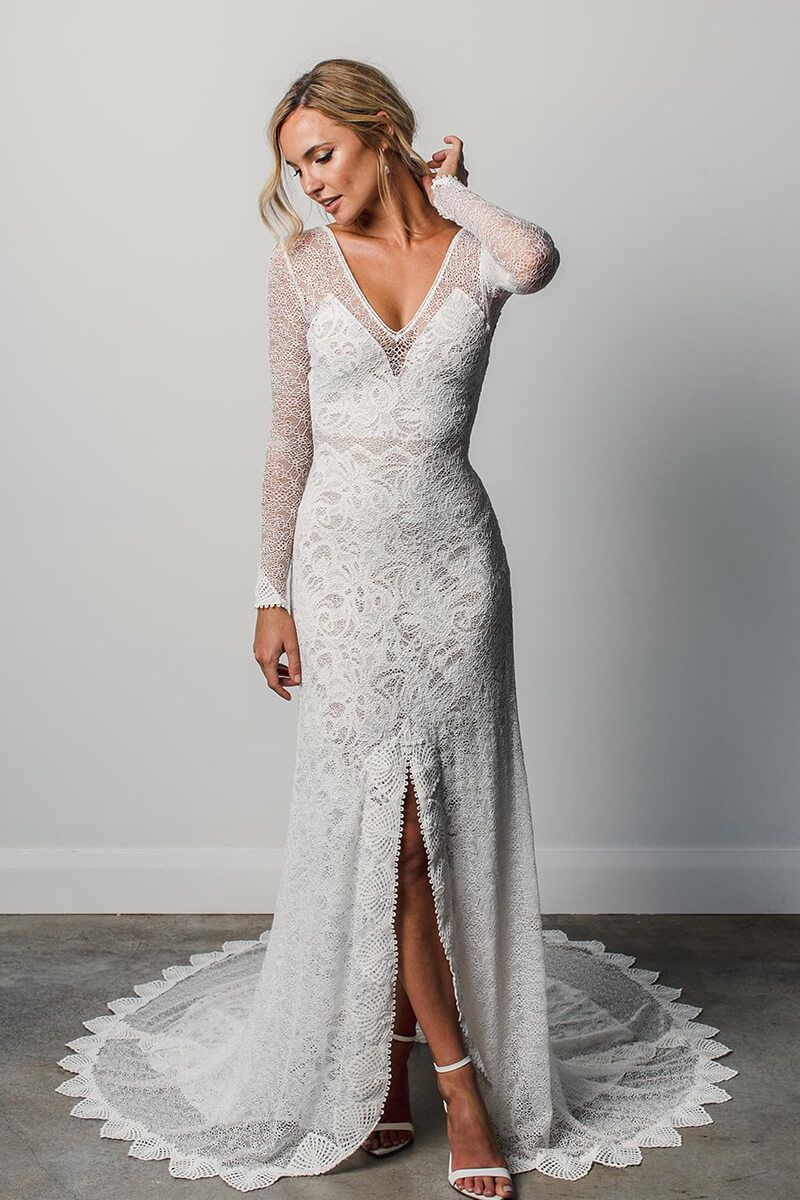Sleeves vneck high slit layer lace wedding gown ideas for home
