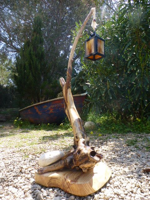 driftwood electric lamp