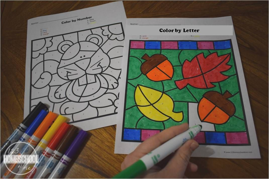 FREE Fall Color by Letter Fall kindergarten