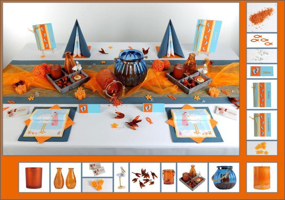 Tischdeko Taufe 5 In Blau Orange Als Mustertisch Tafeldeko De