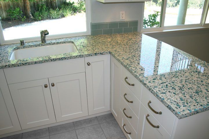 Merveilleux Geos Recycled Glass Countertops Kitchen Traditional With White Saddle Seat  Counter Height Stools