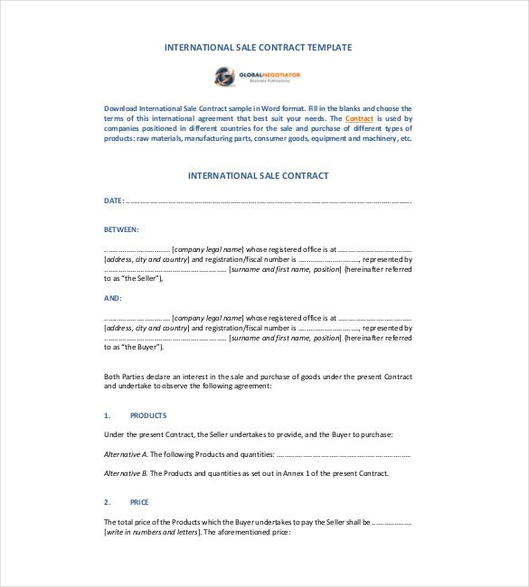 International Sale Contract Template   Simple Contract Template
