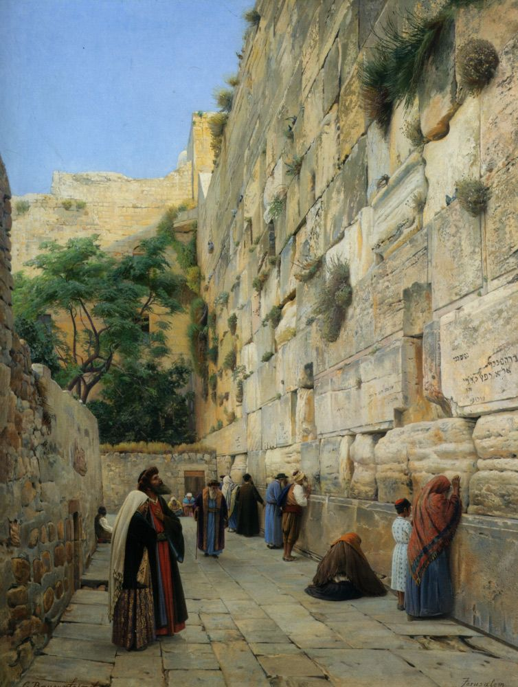 Gustav Bauernfeind (1848-1904)  The Wailing Wall Jerusalem  Oil On Canvas