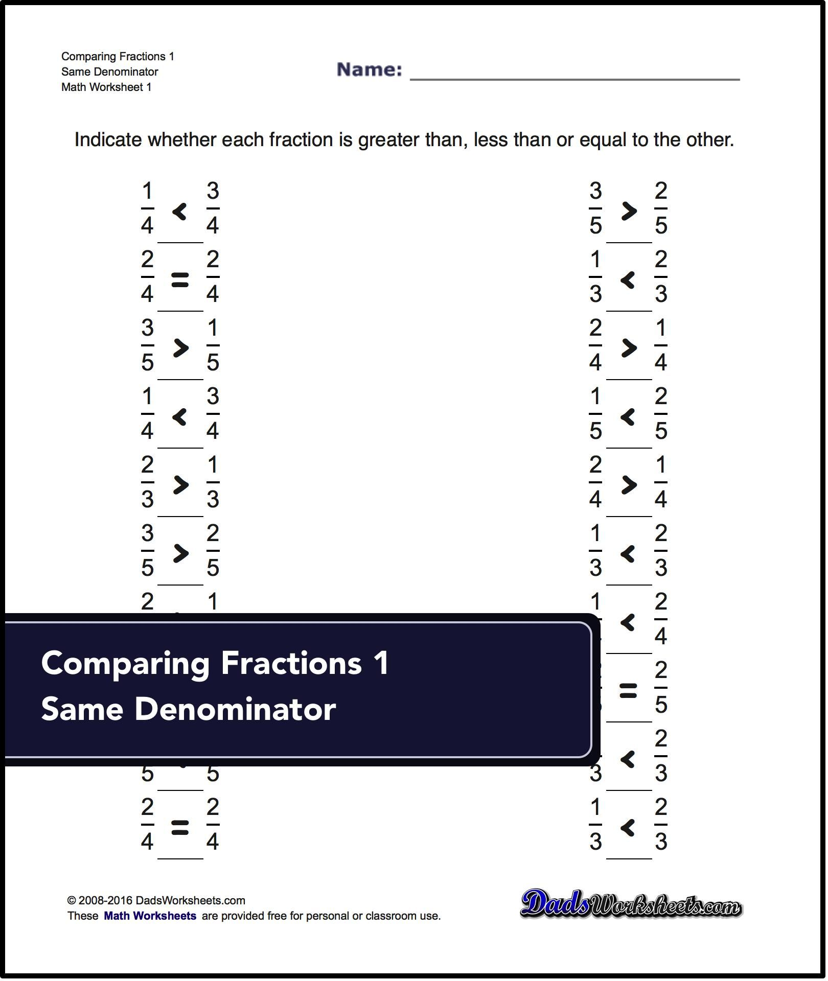 Understand how to compare fractions with these Comparing Fraction ...