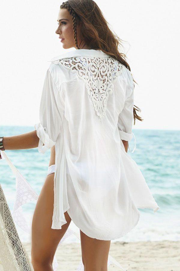 331509180 Sexy Womens Back Triangle Crochet White sheer Beachwear Bikini Blouse w/  buttons