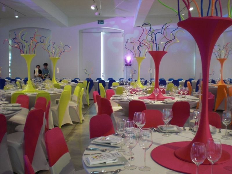 Amazing Neon Chair Covers And Center Pieces