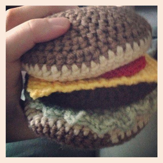 Crocheted Hamburger Pattern by yayhookdcrochet on Etsy, $4.00