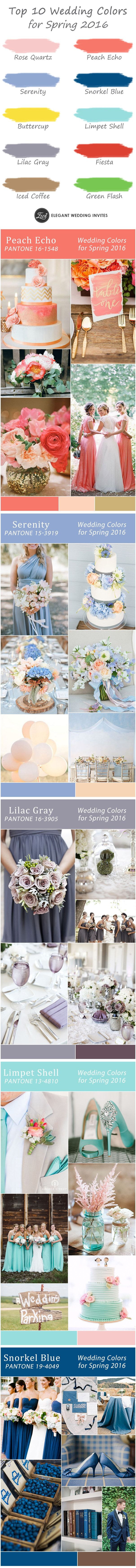 top 10 wedding colors for spring 2016 trends-coral, peach, blue, lilac gray and more wedding color ideas