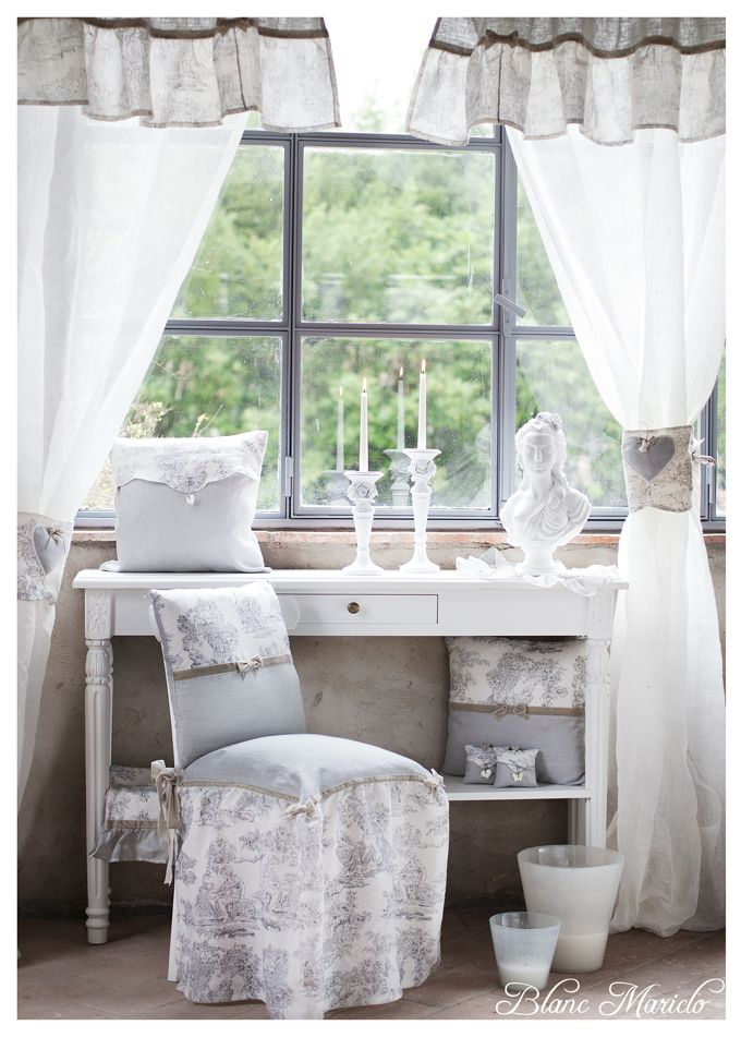 toile de jouy linen bedreoom Blanc Mariclo | tende | Pinterest ...