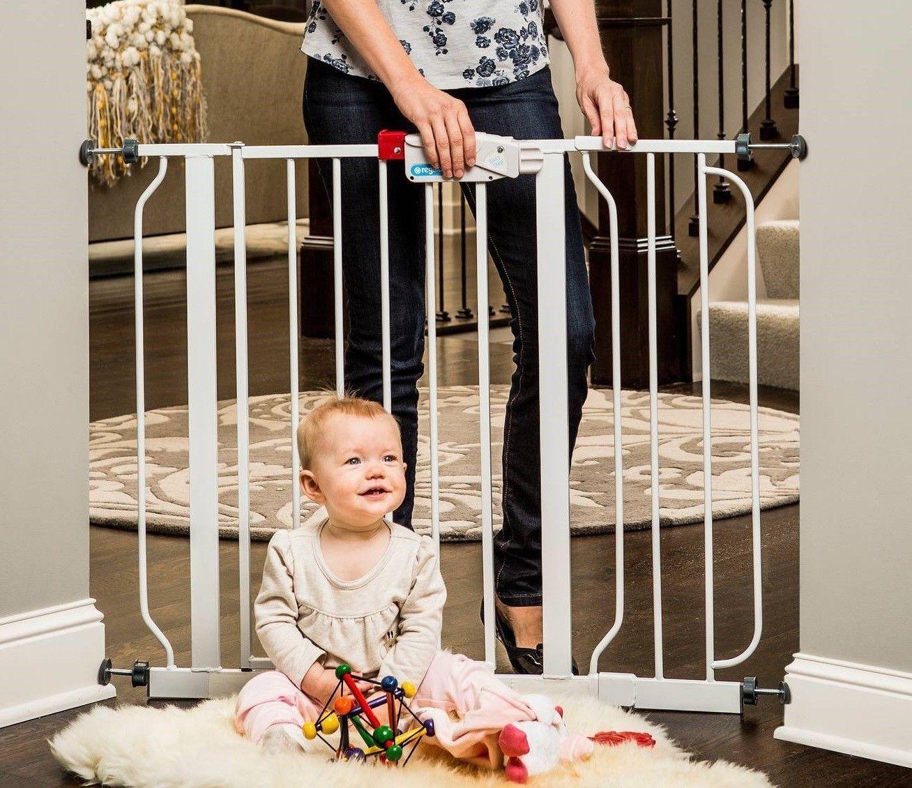Easy step walk thru gate white fits spaces safety lock
