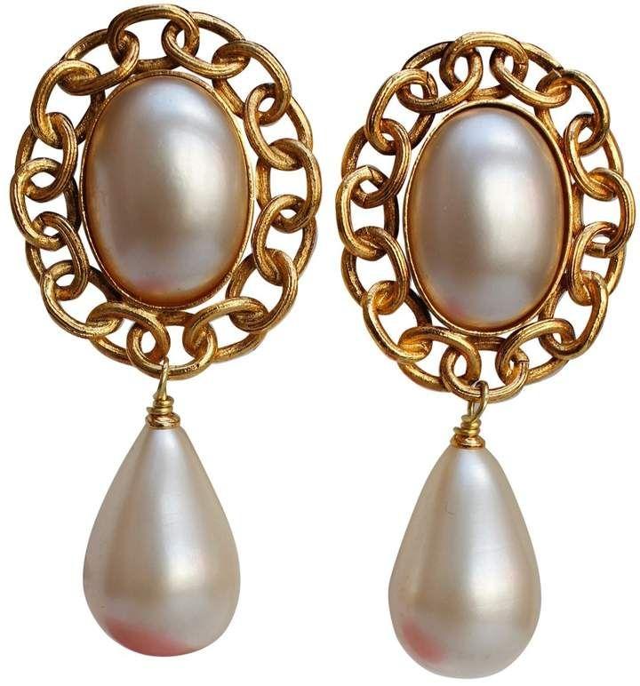 Chanel Vintage Baroque Gold Metal Earrings Pearl Earrings Vintage Baroque Jewelry Earrings