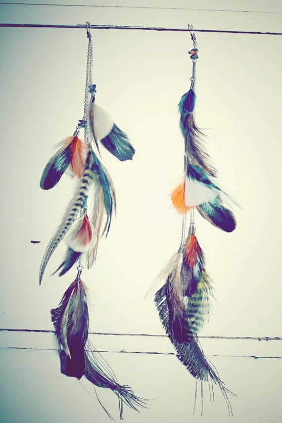 Design Your Own Extra Long Feather Earrings Or Feather Hair Clip