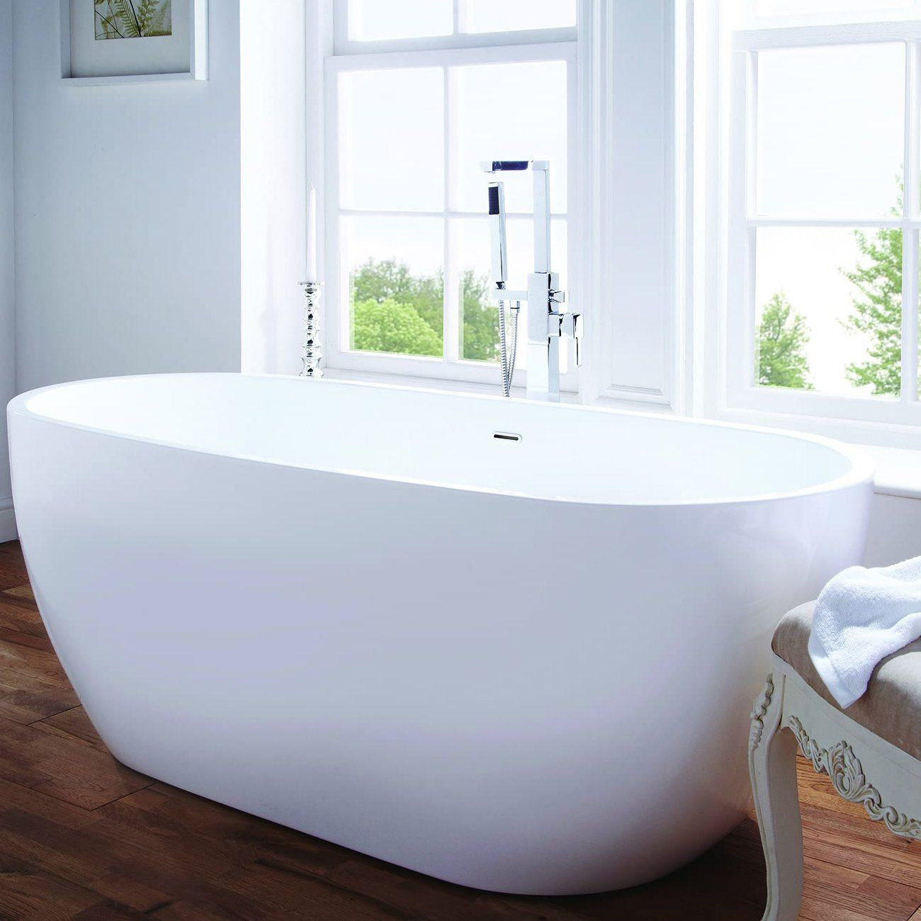 Verona Summit Freestanding Double Ended Bath 1480mm x 750mm - White ...