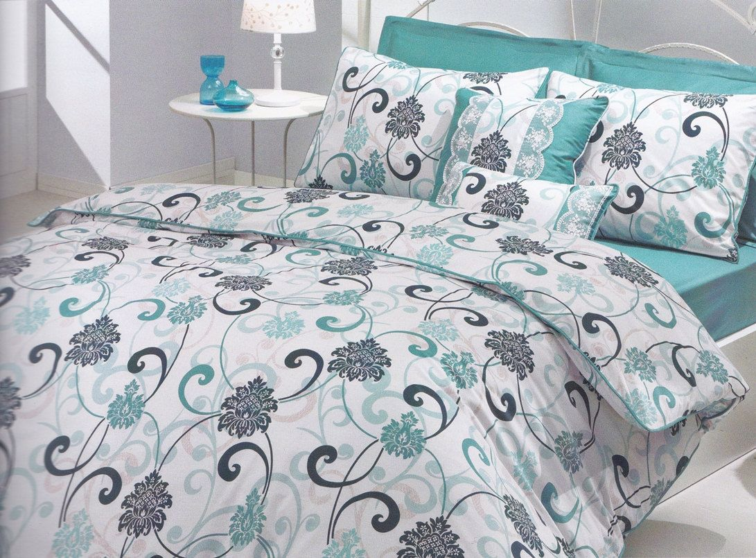 White Green Grey Flower Bedding In Green Linen Bed Of A Welcome