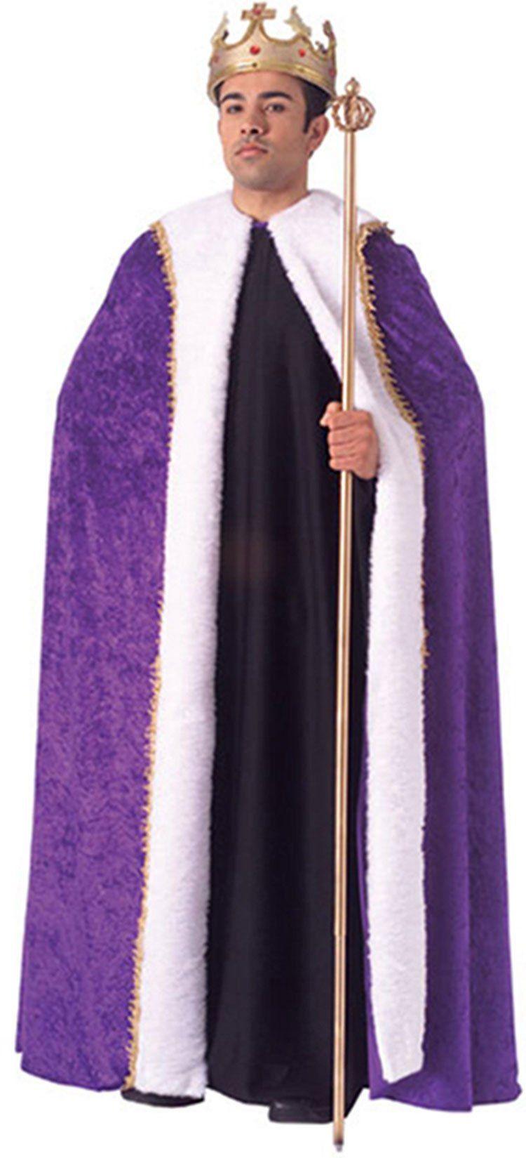 Men King Cloak Cape Robe Renaissance Medieval Purple Burgundy Costume Halloween