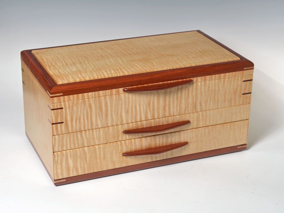 large tiger maple and bloodwood top closed 1 boxes Pinterest
