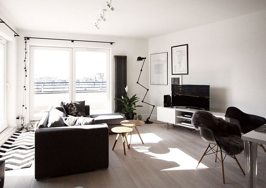 Beautiful living room of the scandinavian style apartment in Warsaw Scandinavian  Home Decor Mixed With a