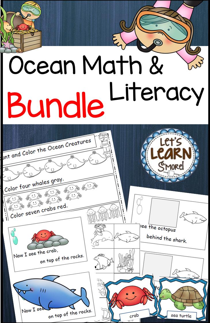 Ocean Animals, Ocean Themed Math and Literacy Bundle, Ocean Unit