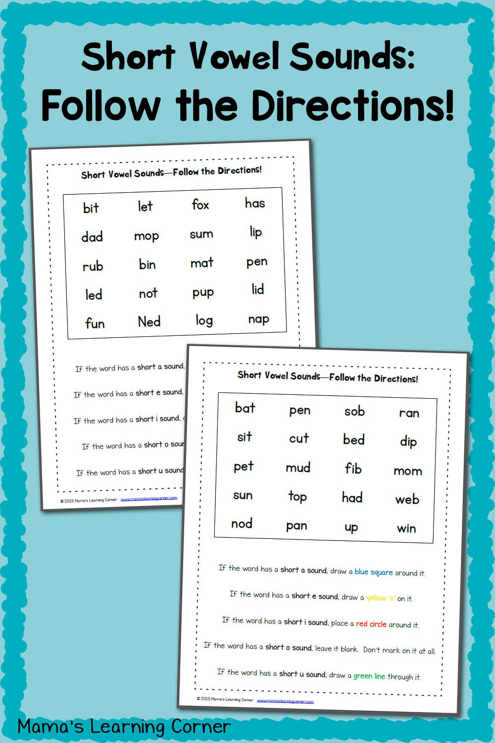 Short Vowel Worksheets Follow The Directions Crayons