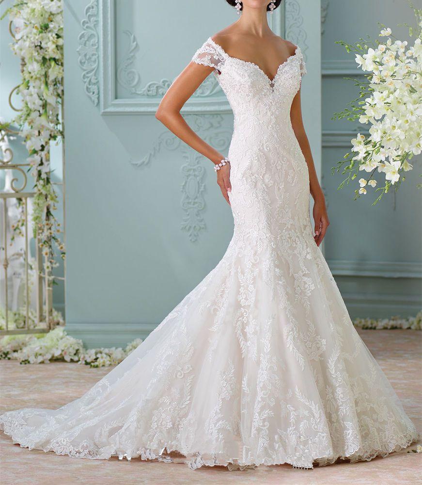 White/Ivory Mermaid Wedding Dress Bridal Gown Custom Size 4 6 8 10 ...