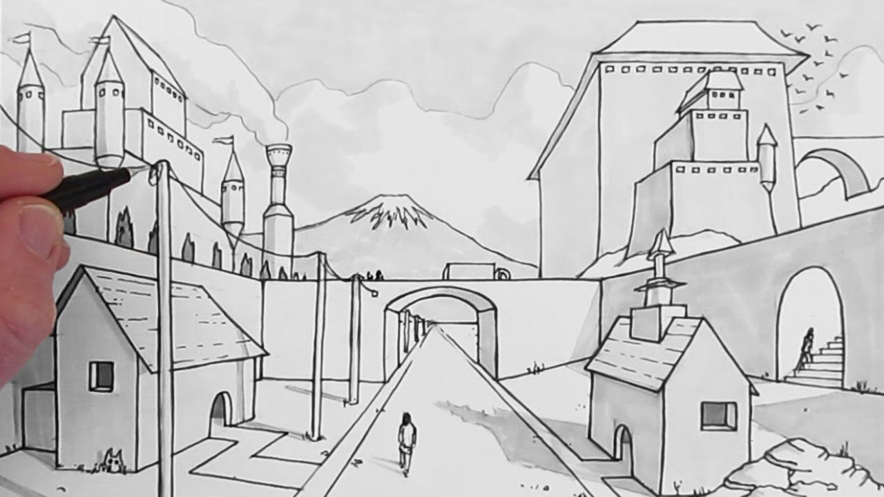 How To Draw A Background One Point Perspective Perspective Art Perspective Drawing Lessons Perspective Drawing Architecture