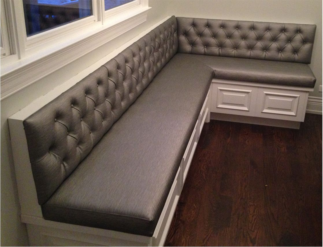 Transitional diamond tufted sewn custom kitchen banquette for Banquette bench