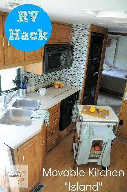 Rv Hack For More Counter Space Get A Movable Kitchen Island Organizingmadefun Com Rv Hacks Rv Kitchen Rv Organization