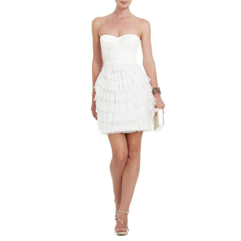 74a7d7f2 BCBG MAXAZRIA Mesh Pleat Sas Tiered Mini Dress Gardenia Size 6 #333,335 NWT  #BCBGMAXAZRIA #BallGown #Festive