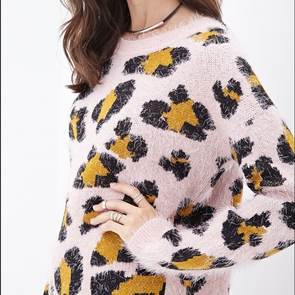Fuzzy Pink Leopard Sweater Trendy pink sweater with leopard print ...