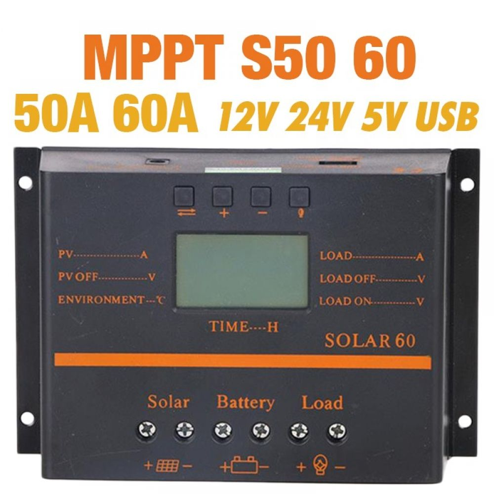 Solar Charge Controller Mppt 50a 60a Lcd Pv Panel Battery Charge Controller 12v 24v Solar System Home Indoor Use 5v Usb Solar Charge 54 Energy Renewable En Battery Charge