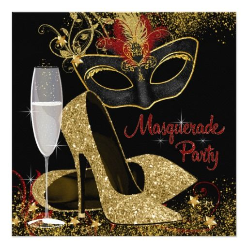 Red Black And Gold Masquerade Birthday Party Invitation Zazzle Com Black And Gold Party Decorations Masquerade Party Invitations Masquerade Party Decorations