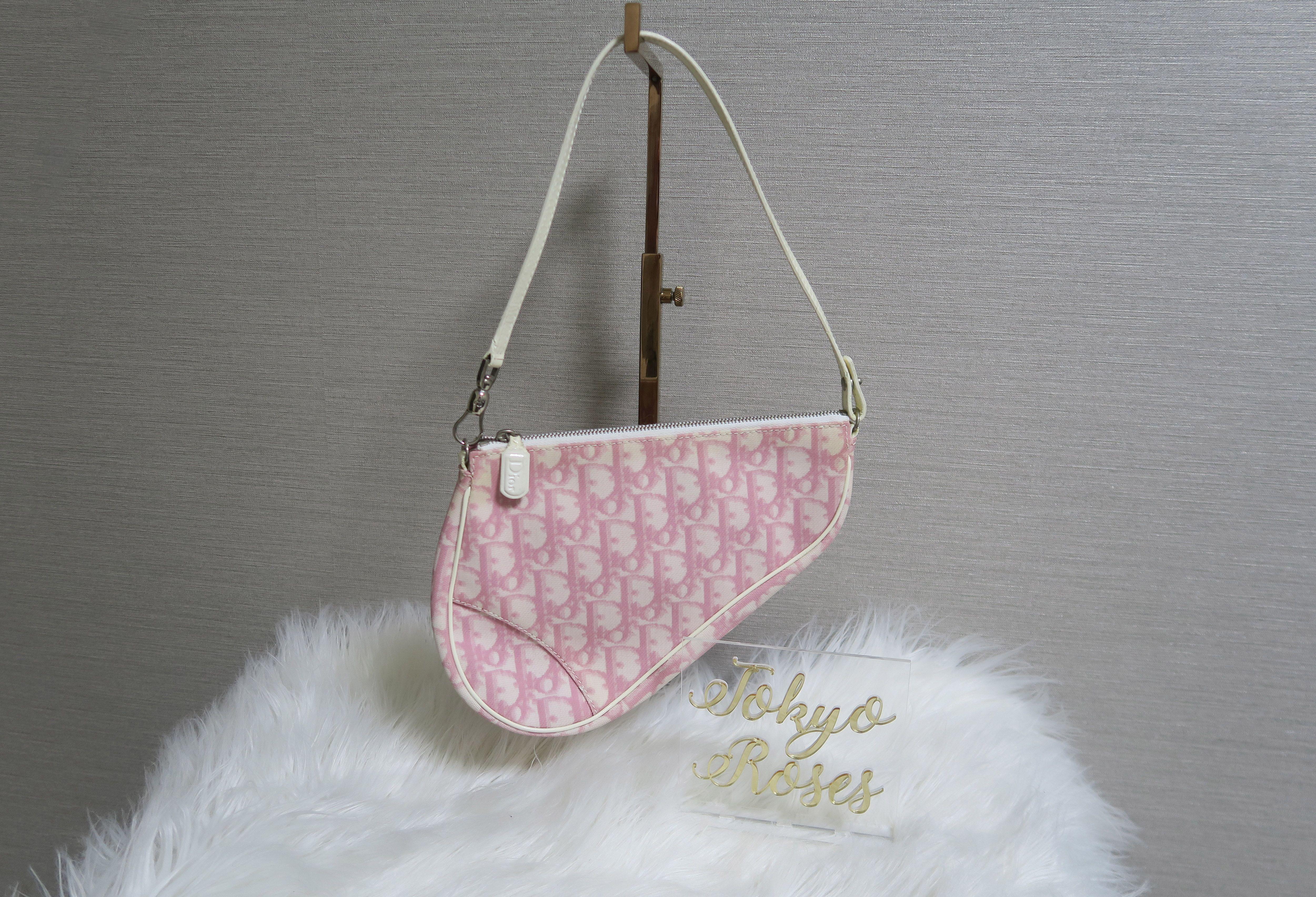 8256455b242 Christian Dior Trotter Monogram Print Saddle Bag Pink & White 204 ...
