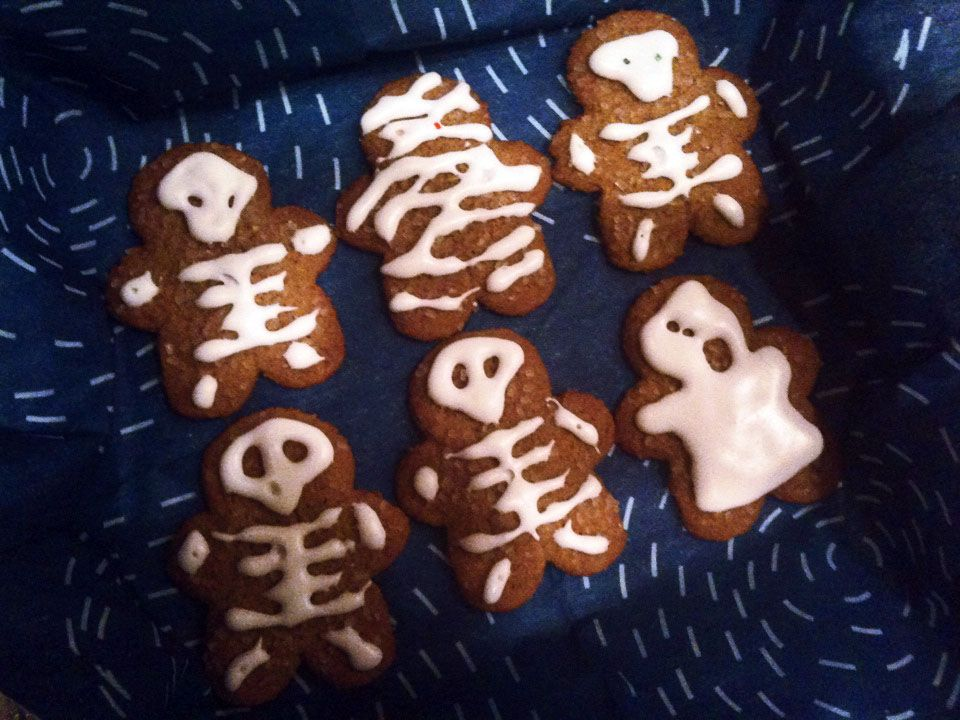 freehand skeleton, mummy, ghost frosting on storebought