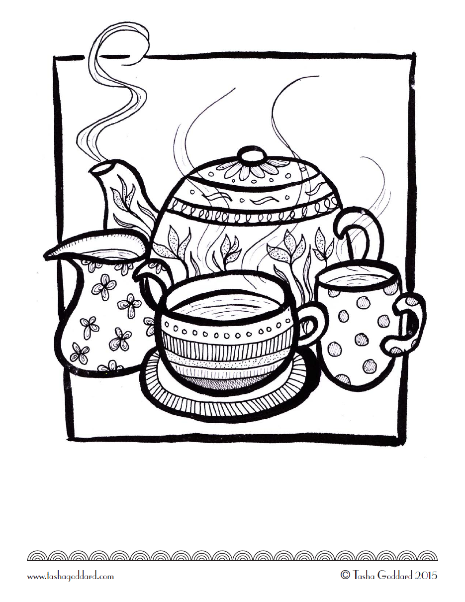 Tea time coloring page | ✐☕Adult Colouring~Coffee~Tea~Cakes ...