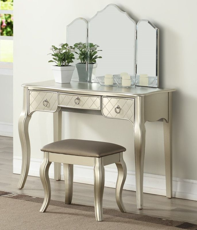 Poundex F4187 3 pc silver finish wood make up bedroom vanity set in - Bedroom Vanity Table