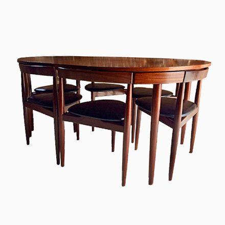 Vintage Dinette Esstisch & Stühle Set von Hans Olsen für Frem
