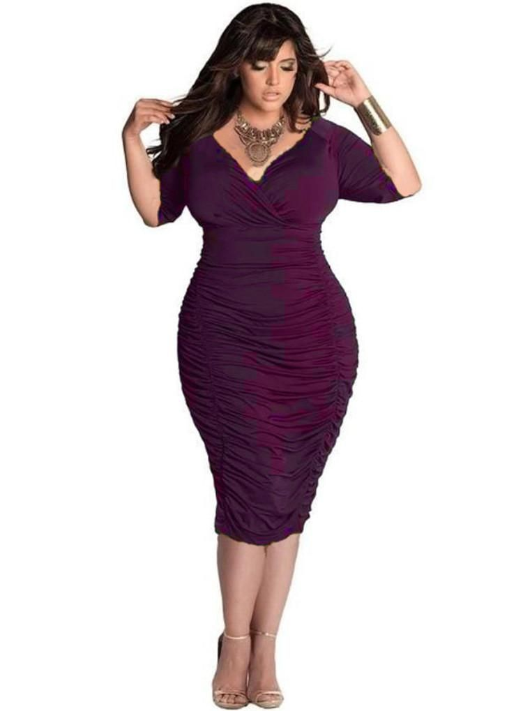 c1d46bda931 Plus Size Pure Color Drape Wrap Knee-length Dress