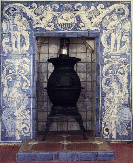 Antique Vintage Bedroom Fireplace: Delft Fireplace Tiles