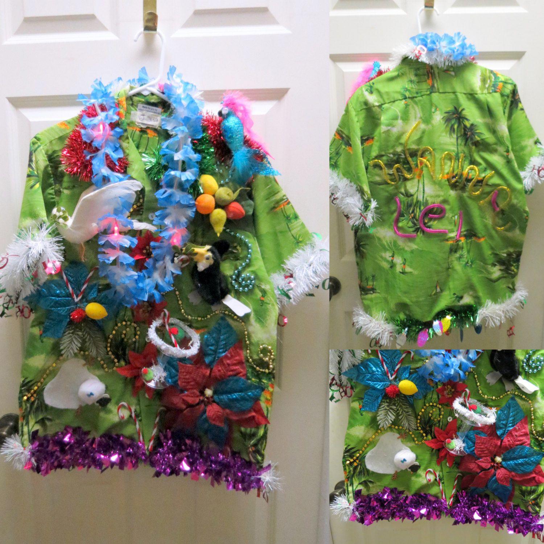 Christmas Hawaiian Shirt Womens.Pin On Tropical Ugly Christmas Sweaters