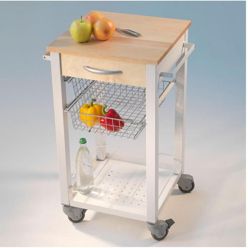Carrello da Cucina CUISINE 46x46xh86 cm telaio Bianco con cestelli ...