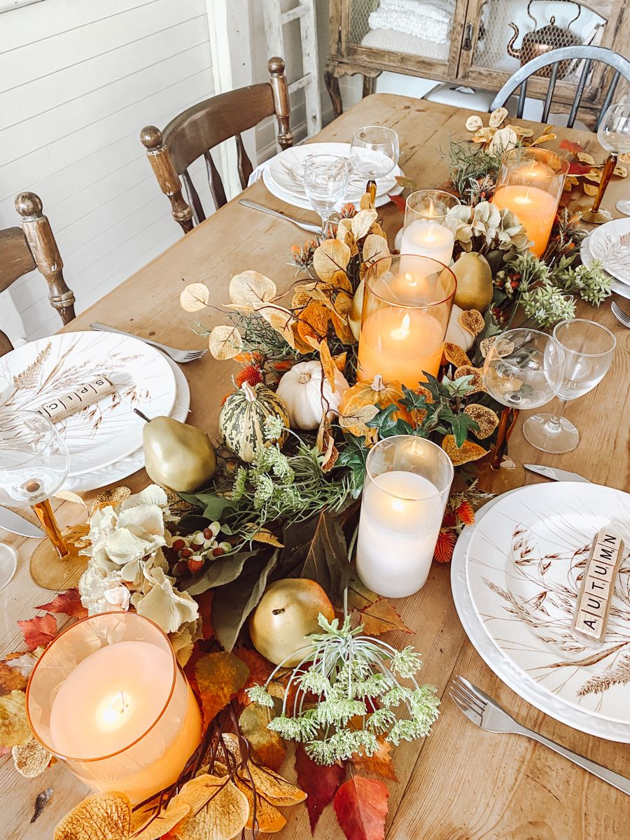 Candlelight Autumn Tablescape Fall Decor Fall Tablescapes Table Decorations