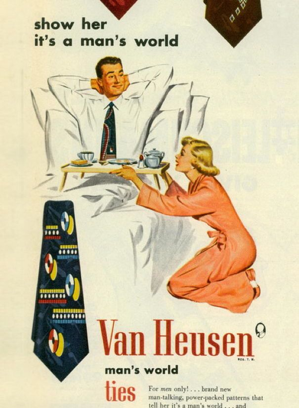 old advertisement - yep, that necktie makes me want to bring you breakfast in bed on my knees!